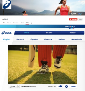 This is ASICS' YouTube Channel, featuring a custom theater that provides localized content in a centralized channel.