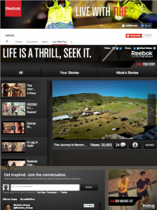 This is Reebok's YouTube Channel, featuring video playlists, integrated calls to action and a unified social stream.